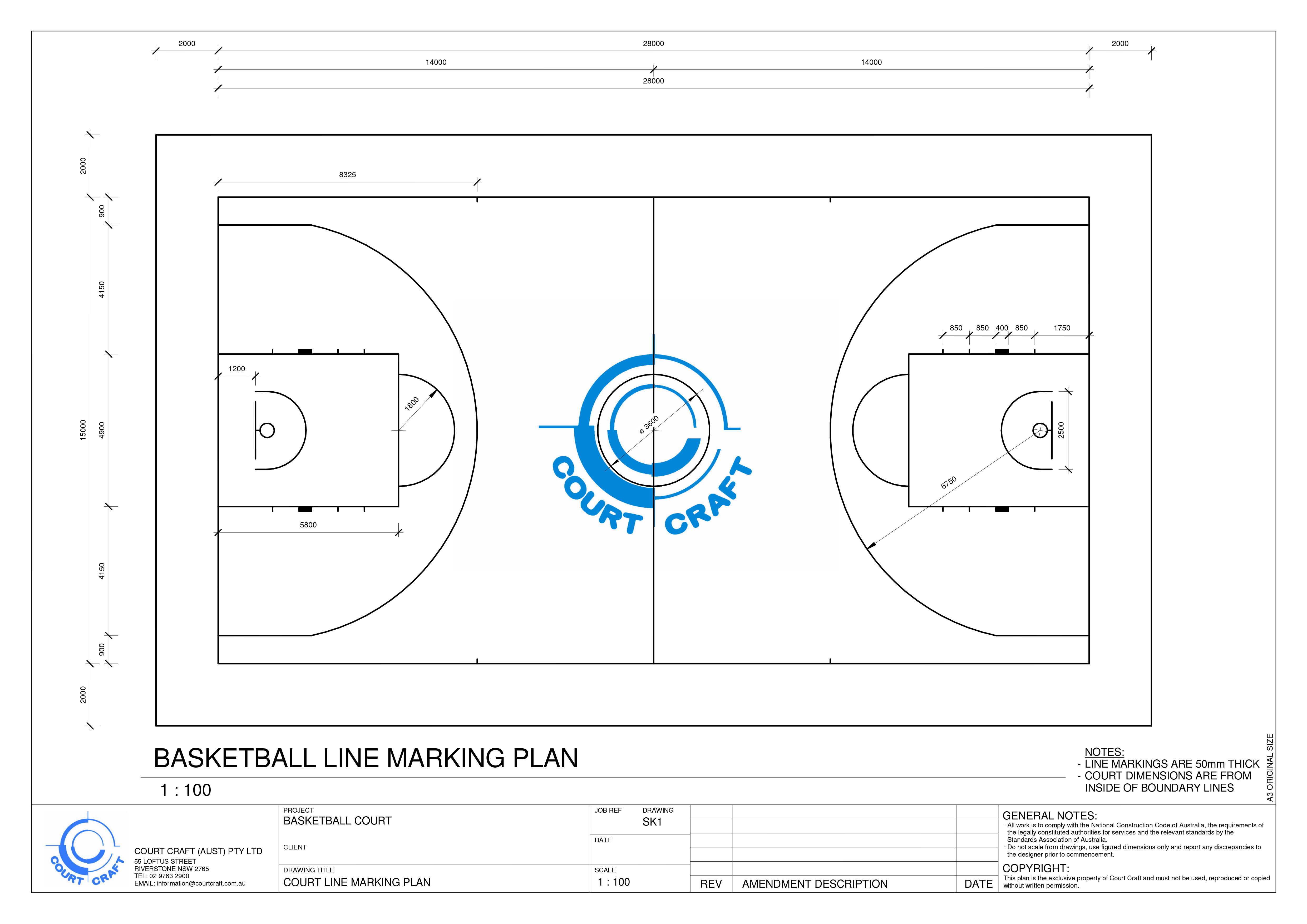 Basketball Dimensions Court Craft